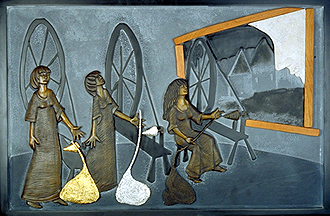 2 of 7 panels. the three daughters sit in the window of their fathers shop spinning gold, silver and silk. this panel incorporates slate, wood, limestone, gold and silver leafe and bronze