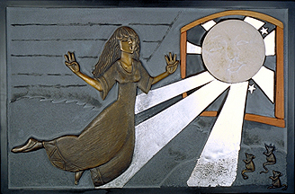 3 of 7 panels. The youngest dauter is becconed by the mmon to cme and dance with her. Giricoccola rids on the moon dust up to the warm voice of mother moon. this panel incorporates slate, bronze, wood, limestone and silver leaf