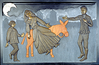 panel 6 of 7. Giricoccola now a statue is being carried on the donkey after being purchased for three cents by a chimney sweep. the kings son saw it, fell in love and bought her for he weight in gold. this panel incorporates slate, wood, bronze and limestone