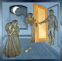 panel 7 of 7. Giricoccola is brought back to life, surprises the prince from behind the door. this panel incorporates slate, wood, bronze, gold leaf and limestone